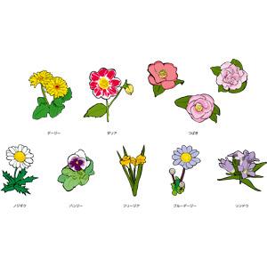 フリーイラスト, ベクター画像, AI, 植物, 花, ヒナギク(デージー), ダリア, 椿(ツバキ), 野路菊(ノジギク), パンジー, フリージア, ブルーデージー, リンドウ