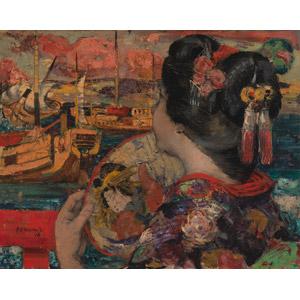 フリー絵画, エドワード・アトキンソン・ホーネル, 人物画, 女性, アジア人女性, 日本人, 着物, うちわ, 船, 海, 帆船, 神奈川県, 眺める, 人と風景