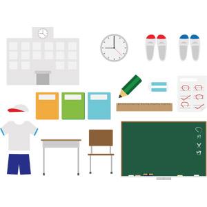 フリーイラスト, ベクター画像, AI, 学校, 校舎, 体操服(体操着), 勉強机, 椅子(イス), 黒板, ノート, テスト, 答案用紙, 上履き, 掛け時計, 鉛筆(えんぴつ), 消しゴム, 定規(物差し), 文房具, 紅白帽(赤白帽), 教科書