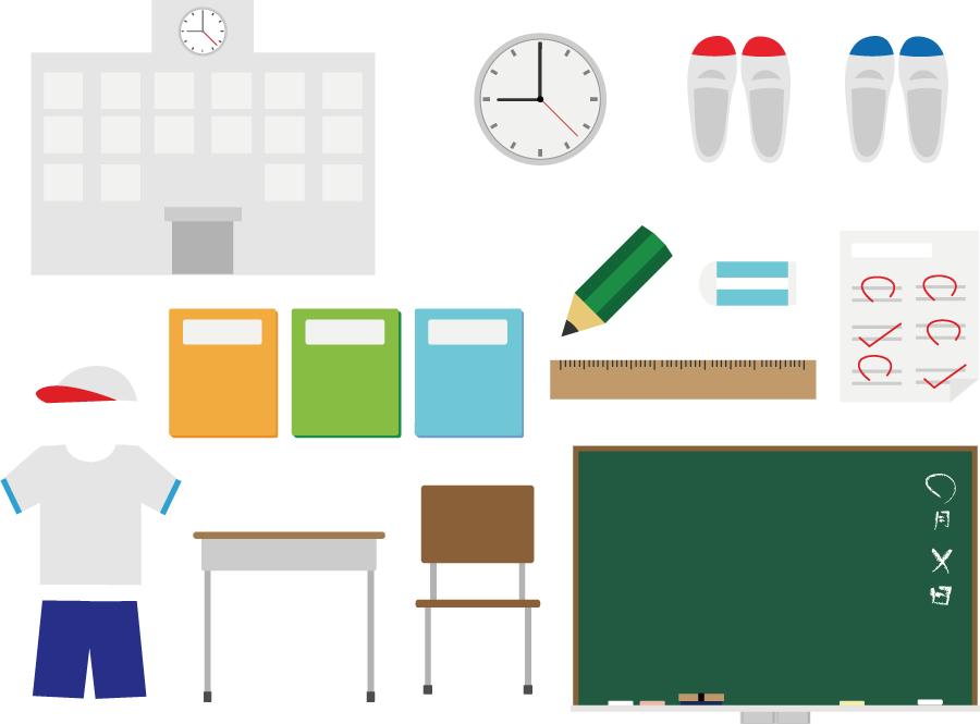 フリーイラスト 校舎や上履きなどの学校関連のセット