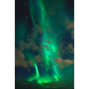 フリー写真, 風景, 自然, 夜, 夜空, オーロラ, 緑色(グリーン), アメリカの風景, アラスカ州
