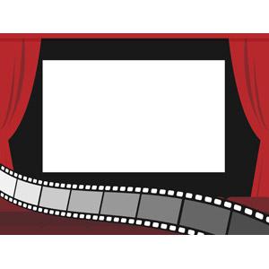 フリーイラスト, ベクター画像, AI, 背景, 映画, 映画館, 舞台幕, スクリーン, 映画フィルム