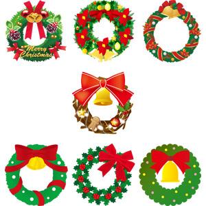 フリーイラスト, ベクター画像, AI, クリスマス, 12月, 冬, クリスマスリース, クリスマスベル