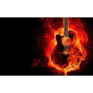 フリー写真, 背景, フォトレタッチ, 火(炎), 音楽, 楽器, 弦楽器, ギター, アコースティックギター