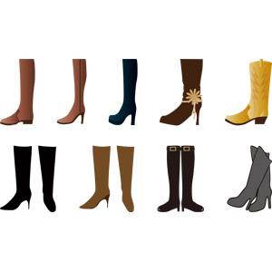 フリーイラスト, ベクター画像, AI, 靴(シューズ), ブーツ, 冬, レディースファッション
