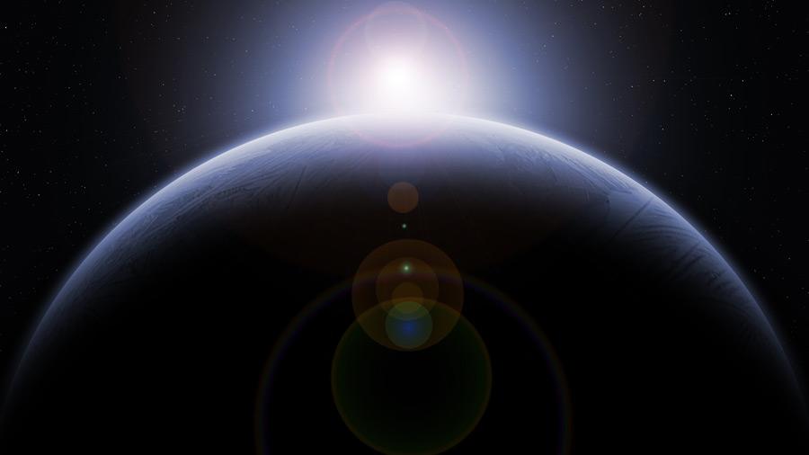 フリーイラスト 地球と日の出の風景