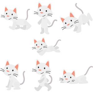 フリーイラスト, ベクター画像, AI, 動物, 哺乳類, 猫(ネコ), 白猫, 走る(動物), 逆立ち(動物)