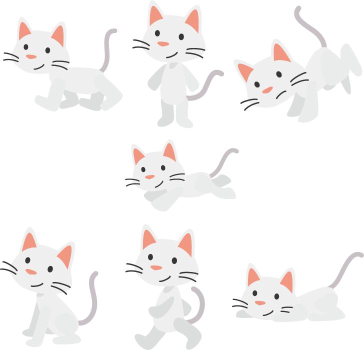 フリーイラスト 7種類の白猫のセット