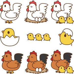 フリーイラスト, ベクター画像, AI, 動物, 鳥類, 鶏(ニワトリ), ひよこ(ヒヨコ), 親子(動物)