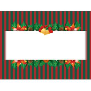 フリーイラスト, ベクター画像, AI, 背景, メッセージフレーム, メッセージカード, 年中行事, クリスマス, 12月, ポインセチア, クリスマスベル, セイヨウヒイラギ, 縞模様(ストライプ)