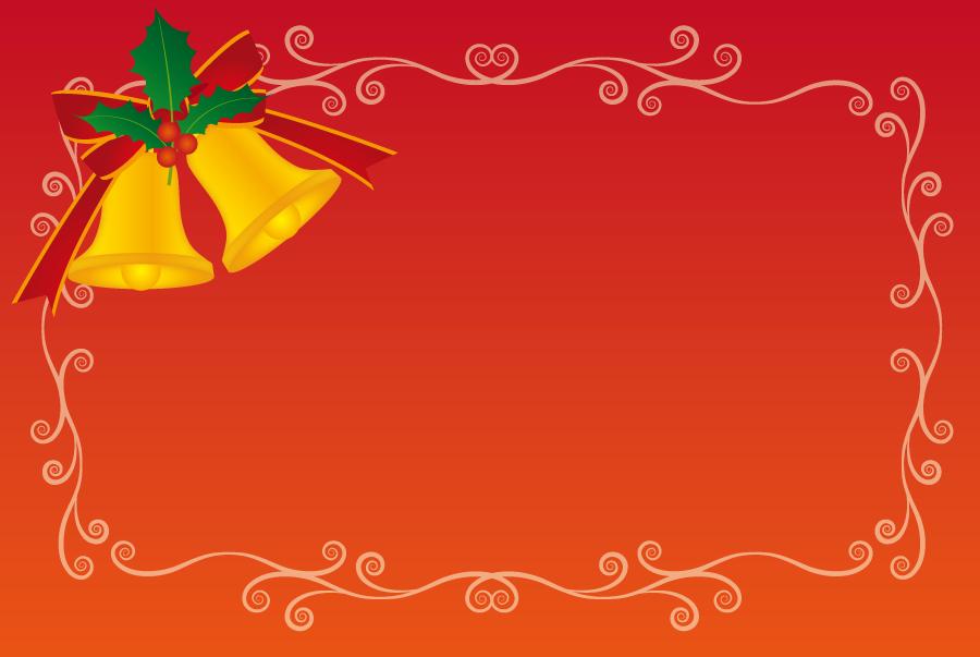 フリーイラスト クリスマスベルと唐草模様のフレーム