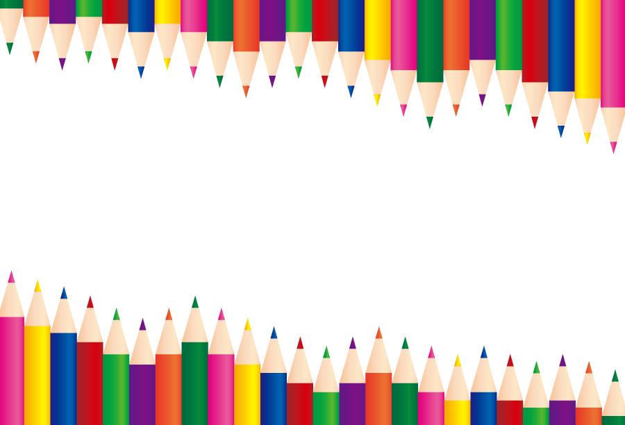 フリーイラスト 色鉛筆の飾り枠