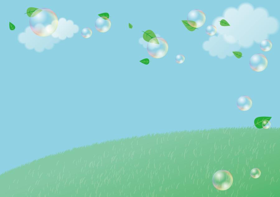 フリーイラスト 草原と風に舞う葉っぱとシャボン玉
