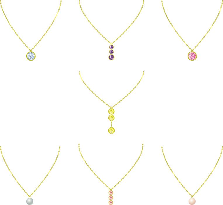 フリーイラスト 7種類のダイヤと真珠のネックレスのセット