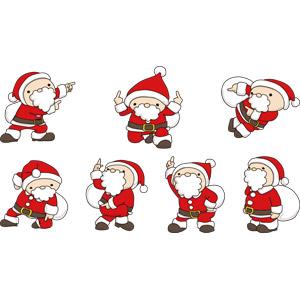 フリーイラスト, ベクター画像, AI, 年中行事, クリスマス, 12月, 冬, サンタクロース, 指差す, 右を指す, 上を指す, 下を指す, 左を指す, 見上げる
