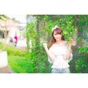 フリー写真, 人物, 女性, アジア人女性, 虹伶(00090), 中国人, ヘアリボン, つる植物