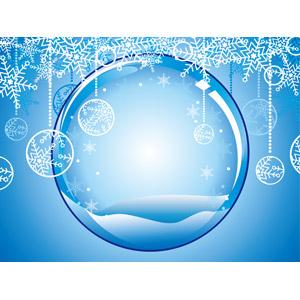 フリーイラスト, ベクター画像, EPS, 背景, 冬, 雪の結晶, 球体, クリスマスボール, 青色(ブルー)