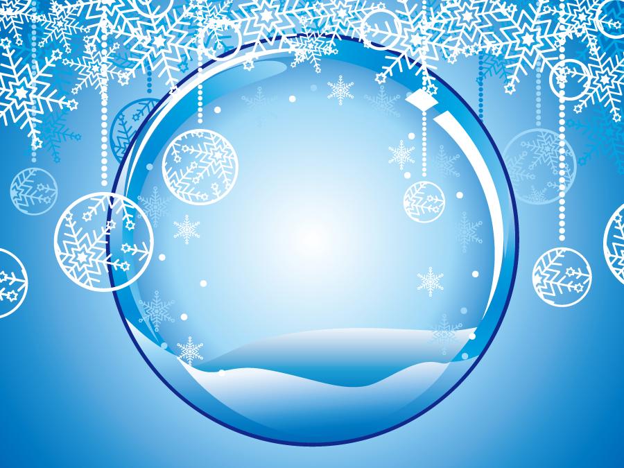 フリーイラスト 球体とオーナメントボールと雪の結晶の背景