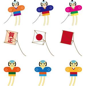 フリーイラスト, ベクター画像, AI, 玩具(おもちゃ), 凧(たこ), 子供の遊び, 正月, 1月, 賀正, 日本の国旗(日の丸)