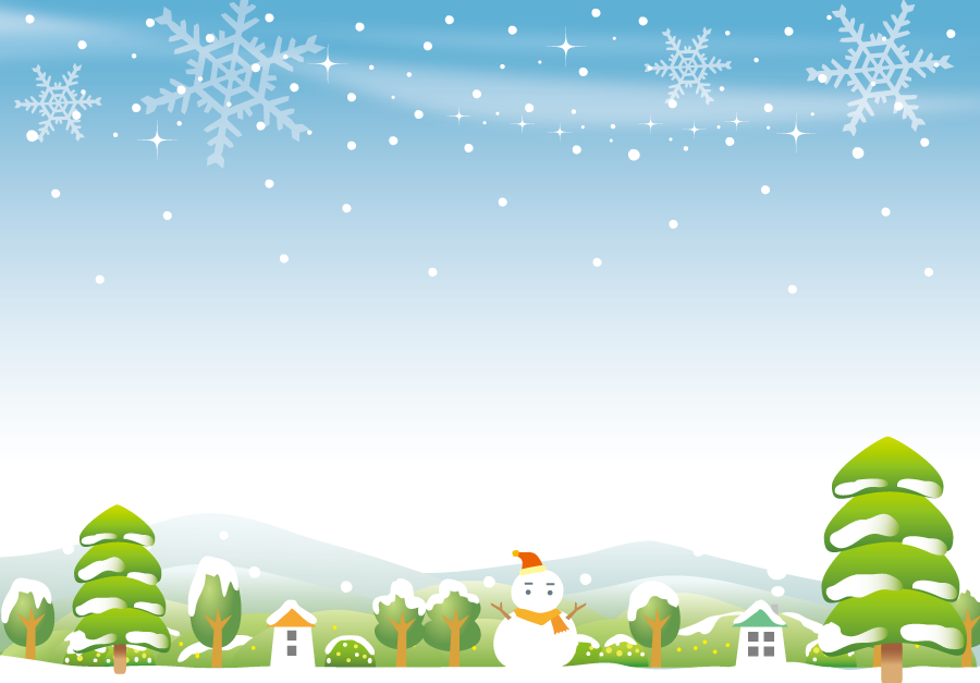 フリーイラスト 雪だるまと雪の降る田舎の風景