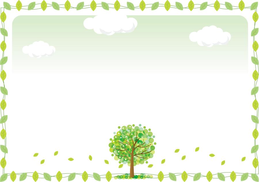 フリーイラスト 木と緑の葉っぱの飾り枠