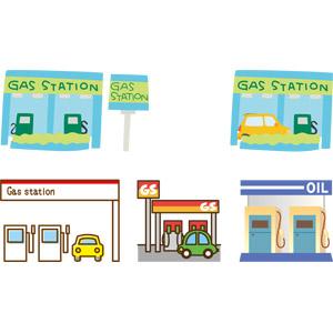 フリーイラスト, ベクター画像, AI, ガソリンスタンド, 給油機, 建造物, 建築物, お店(店舗), 自動車