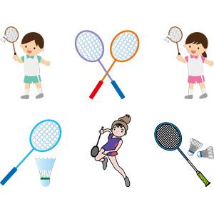 フリーイラスト, ベクター画像, AI, スポーツ, バドミントン, ラケット(バドミントン), シャトルコック, 人物, 男の子, 女の子, 少年, 少女