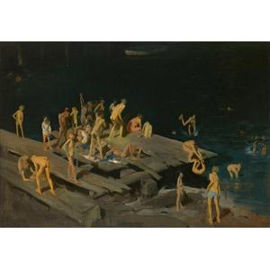 フリー絵画, ジョージ・ベローズ, 風俗画, 人物, 子供, 集団(グループ), 河川, 飛び込む(ダイブ), 川遊び, 水遊び, ハドソン川