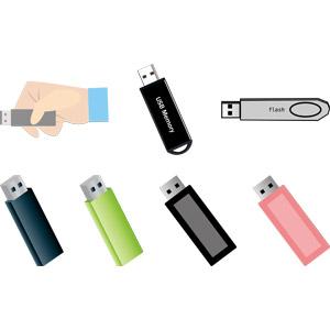 フリーイラスト, ベクター画像, AI, パソコンの周辺機器, USBメモリ, メモリーカード