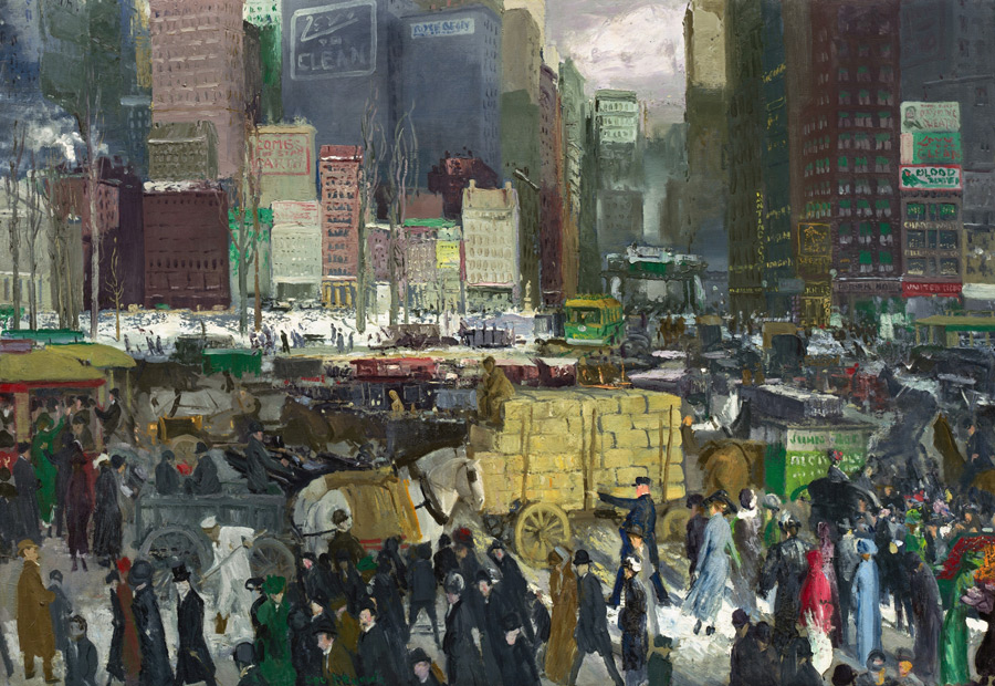 フリー絵画 ジョージ・ベローズ作「ニューヨーク」