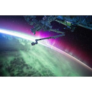 フリー写真, 風景, 宇宙, 惑星, 地球, オーロラ, 国際宇宙ステーション
