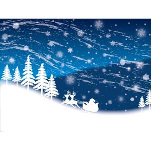 フリーイラスト, ベクター画像, AI, 背景, 年中行事, クリスマス, 12月, 冬, 雪, 吹雪, トナカイ, サンタクロース, ソリ, 夜