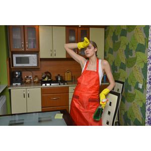 フリー写真, 人物, 女性, 外国人女性, 女性(00092), 掃除(清掃), 掃除用洗剤, スプレーボトル, 汗を拭く(汗を拭う), エプロン, 台所(キッチン)
