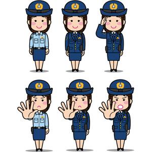 フリーイラスト, ベクター画像, EPS, 人物, 女性, 職業, 仕事, 警察, 警察官(お巡りさん), 婦人警官(婦警), 敬礼, 制止, 禁止(ダメ)