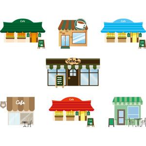 フリーイラスト, ベクター画像, AI, 建造物, 建築物, お店(店舗), 飲食店, カフェ, メニューボード
