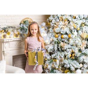 フリー写真, 人物, 子供, 女の子, 外国の女の子, 女の子(00097), イギリス人, 年中行事, クリスマス, 12月, 冬, クリスマスプレゼント, クリスマスツリー