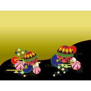 フリーイラスト, ベクター画像, AI, 背景, 和柄, 鞠(毬), 菊(キク), 桜(サクラ)