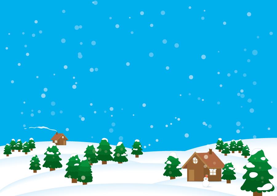 フリーイラスト 民家ともみの木の雪景色
