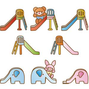 フリーイラスト, ベクター画像, AI, すべり台, 遊具, 熊(クマ), 兎(ウサギ)