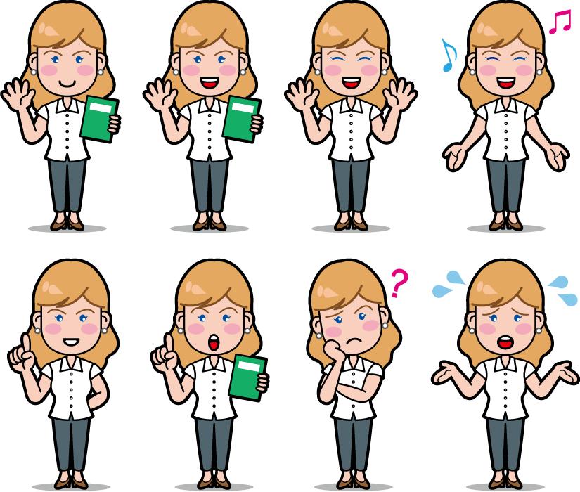 フリーイラスト 8種類の英会話講師の外国人女性のセット