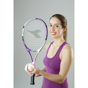 フリー写真, 人物, 女性, 外国人女性, フランス人, 女性(00070), スポーツ, 球技, テニス, テニスボール, テニスラケット, タンクトップ
