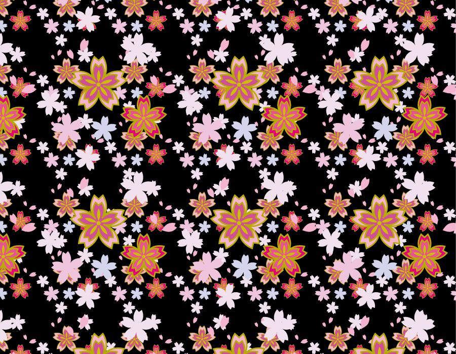 フリーイラスト 桜の花の和柄背景
