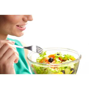 フリー写真, 人体, 口, 食べ物(食料), 料理, 野菜料理, サラダ