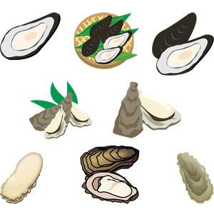 フリーイラスト, ベクター画像, AI, 食べ物(食料), 魚介類, 貝類, 牡蠣(カキ), 広島県, 冬, 食用貝