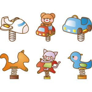 フリーイラスト, ベクター画像, AI, 遊具, スプリング遊具, 熊(クマ), 猫(ネコ)