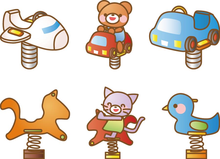 フリーイラスト 6種類のスプリング遊具のセット