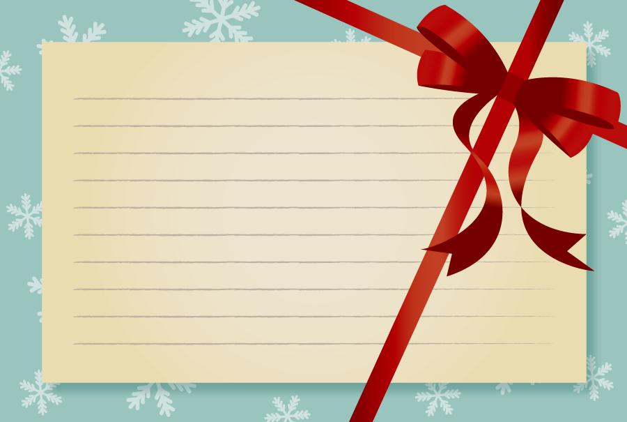 フリーイラスト リボンと雪の結晶のメッセージカード