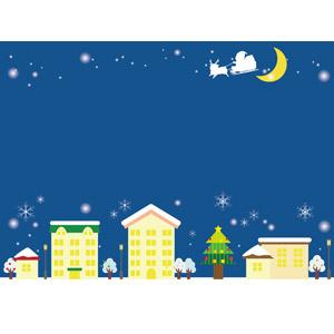 フリーイラスト, ベクター画像, AI, 背景, 年中行事, クリスマス, 12月, 冬, 雪, サンタクロース, ソリ, トナカイ, クリスマスツリー, 街(町), 街並み(町並み), 夜, 三日月