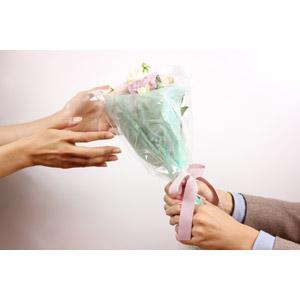 フリー写真, 人体, 手, カップル, 恋人, プレゼント, 花束, 花, 告白, プロポーズ