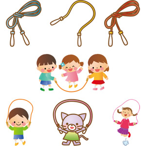 フリーイラスト, ベクター画像, AI, 縄跳び(なわとび), 運動, 子供の遊び, 人物, 子供, 男の子, 女の子, 跳ぶ(ジャンプ), 猫(ネコ)